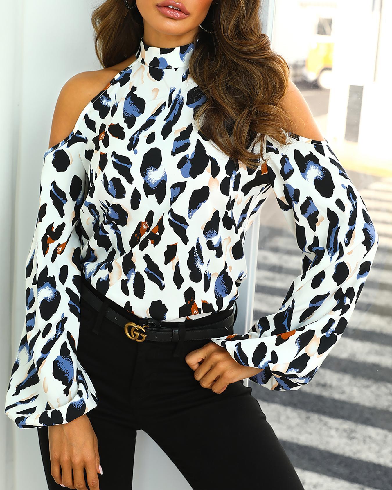 Cold Shoulder Leopard Print Blouse, Multicolor