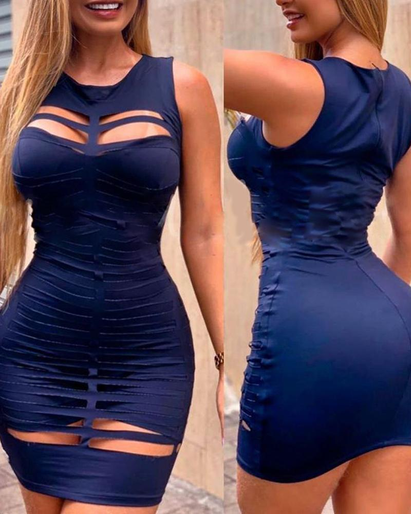 ivrose / Vestido Bodycon com recorte de escada e alça grossa