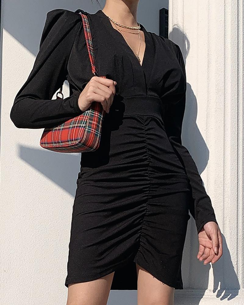 Solid Tight Waist Ruched Dress фото