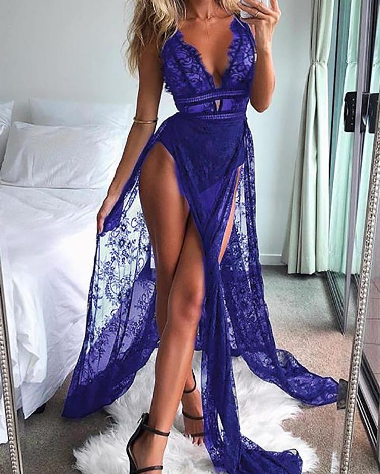 See Through Eyelash Lace High Slit Maxi Dress, Blue