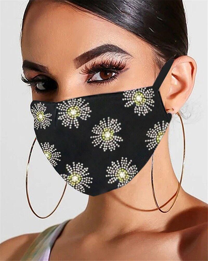 Floral Pattern Bling Rhinestone Face Mask фото