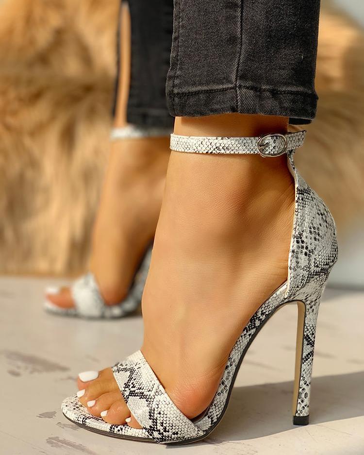 Snakeskin Open Toe Thin Heeled Sandals фото