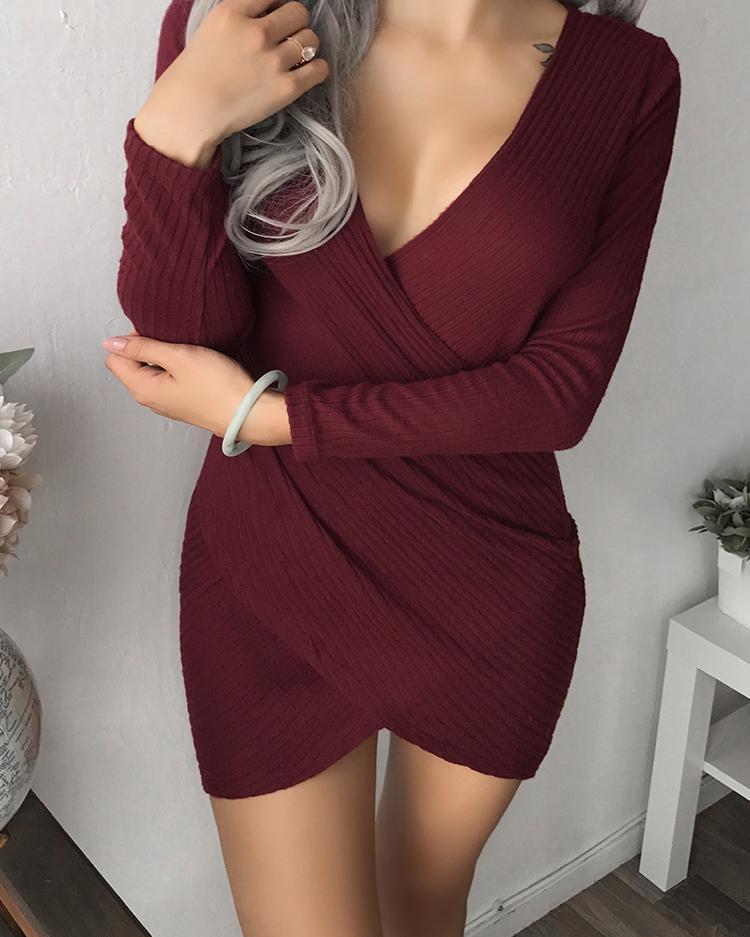 Deep V Crisscross Hem Wrap Mini Dress