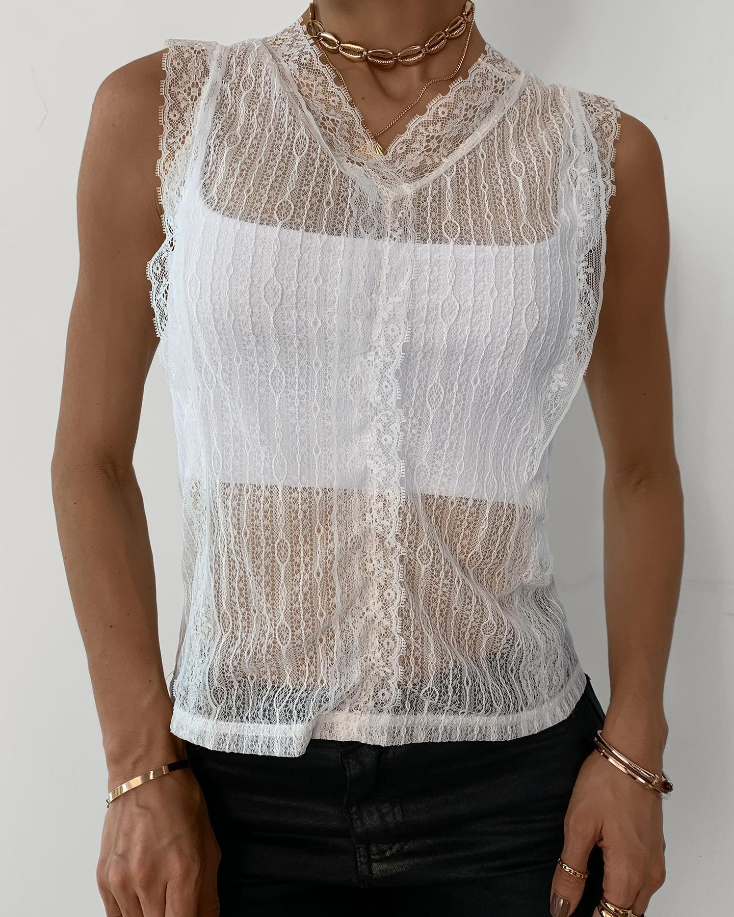 Eyelash Crochet Lace Sheer Mesh Top фото
