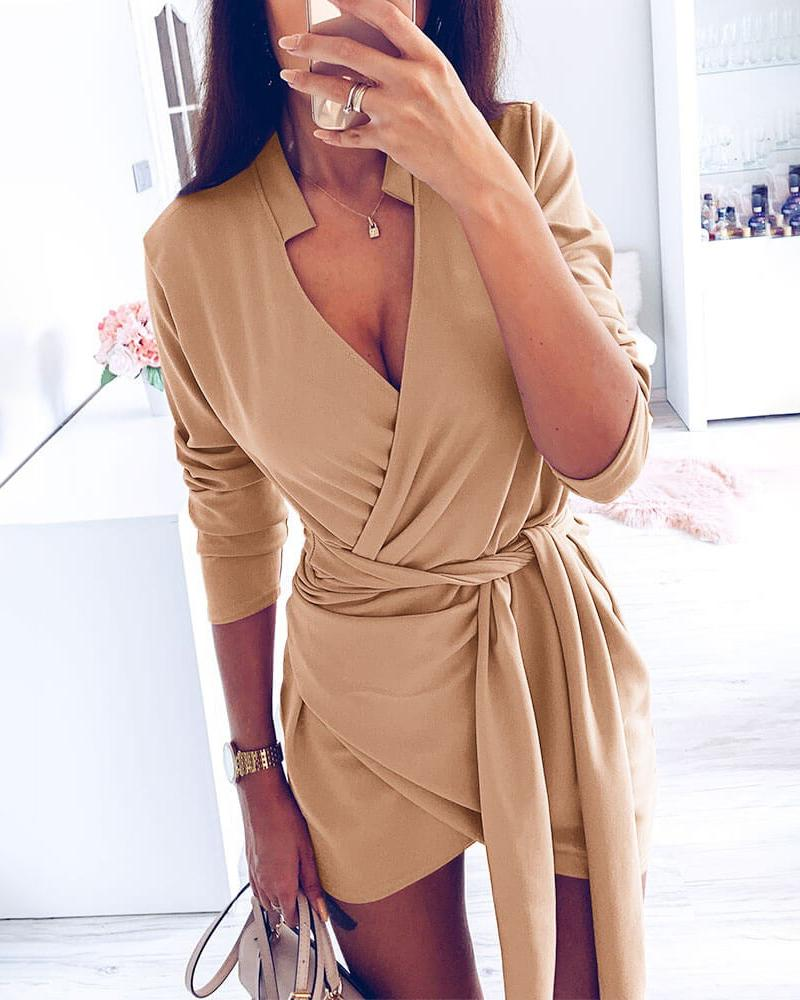 ivrose / Sólido projeto cruzado vestido de cintura amarrado