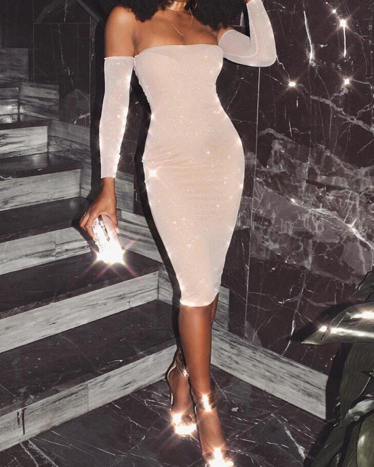 Glittering Off Shoulder Bodycon Midi Dress