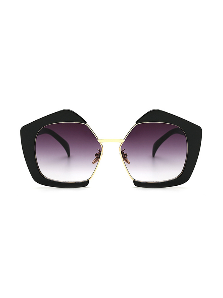 Oversized Frame Lens Sunglasses - Black