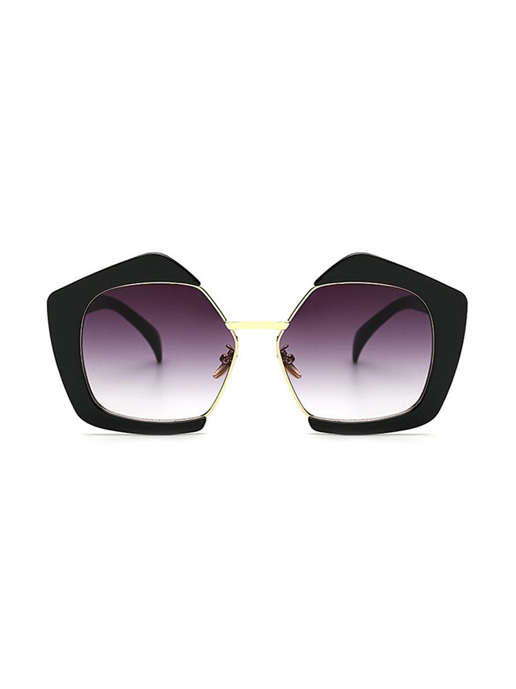 Oversized Frame Lens Sunglasses - Black