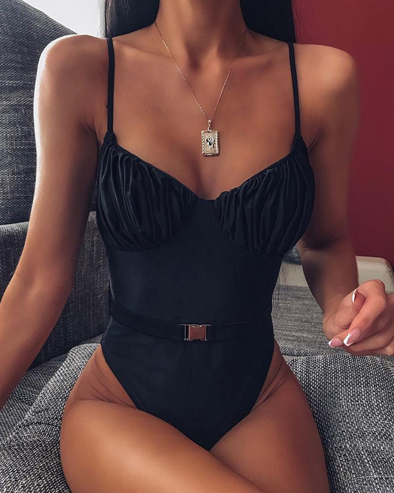 ivrose / Solid Spaghetti Strap One Piece Swimsuit