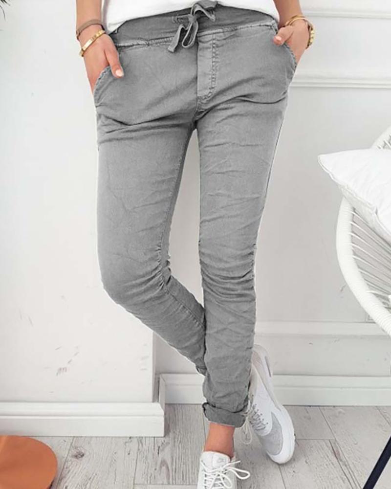 Solid Color High Waist Pants фото
