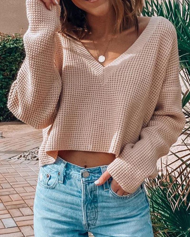 Solid Comfy V-neck Basic Knit фото