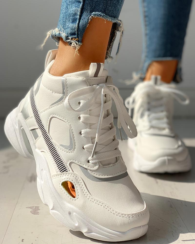 Colorblock Insert Lace-Up Sneakers, White
