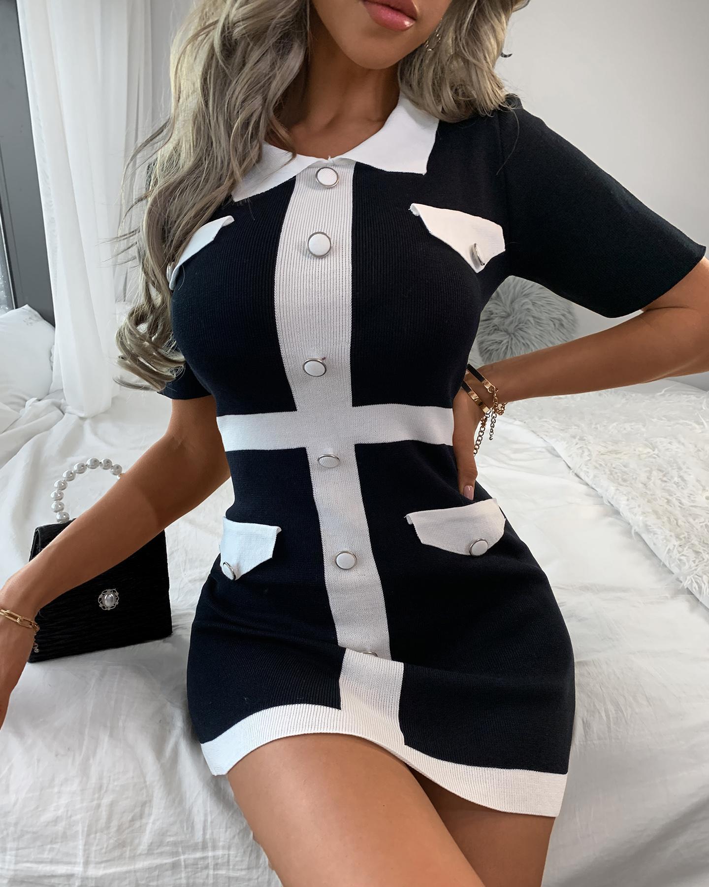 ivrose / Colorblock Button Design Tweed Bodycon Dress