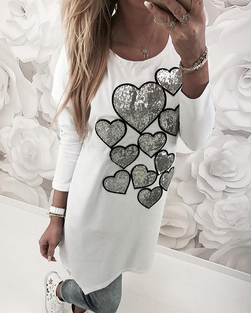 Heart Sequins Longline Casual Sweatshirt фото