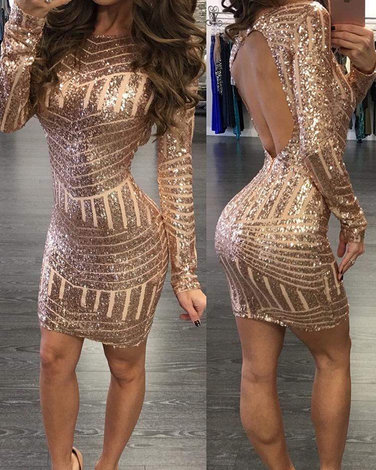 chicme / Sexy manga larga Paillette Backless Bodycon vestido