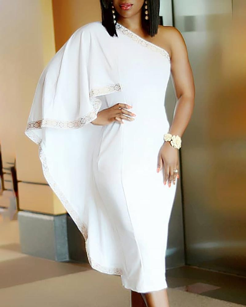 One Shoulder Cape Design Midi Dress
