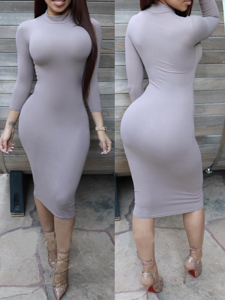 Cotton Sheath Bodycon Pencil Dress