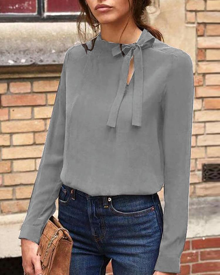 Cut Out Tie Neck Casual Top фото
