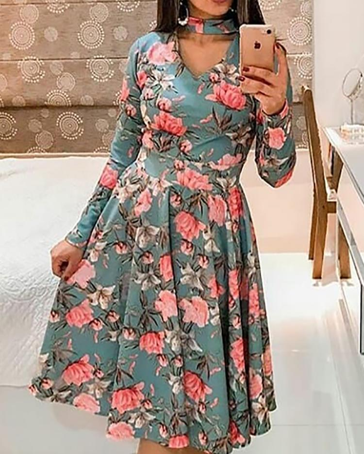 Floral Print Choker Cutout Casual Dress