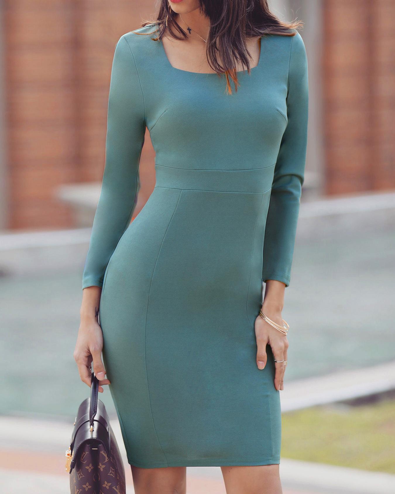 Square Neck Long Sleeve Bodycon Midi Dress фото