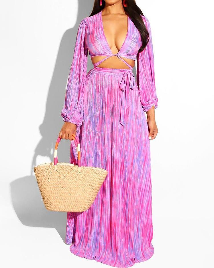 Long Sleeve Plunge Top & Maxi Skirt Set