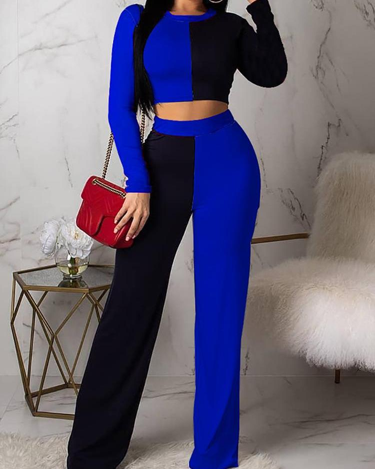 Two Tone Insert Top & Wide Leg Pant Sets