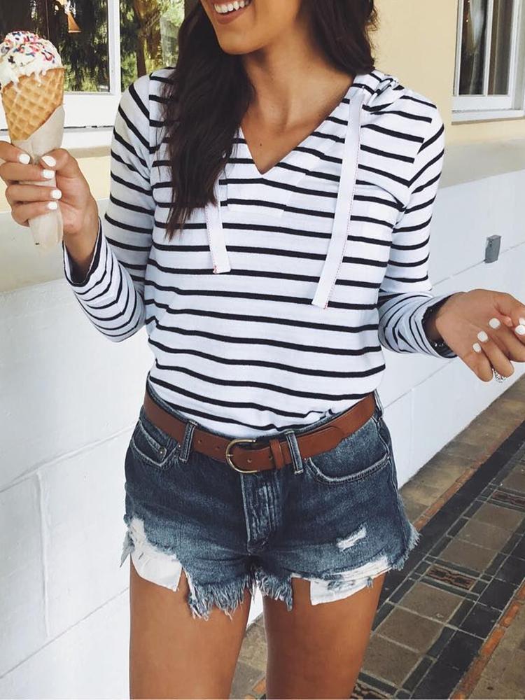 Stripes Hooded Long Sleeve Sweatshirt