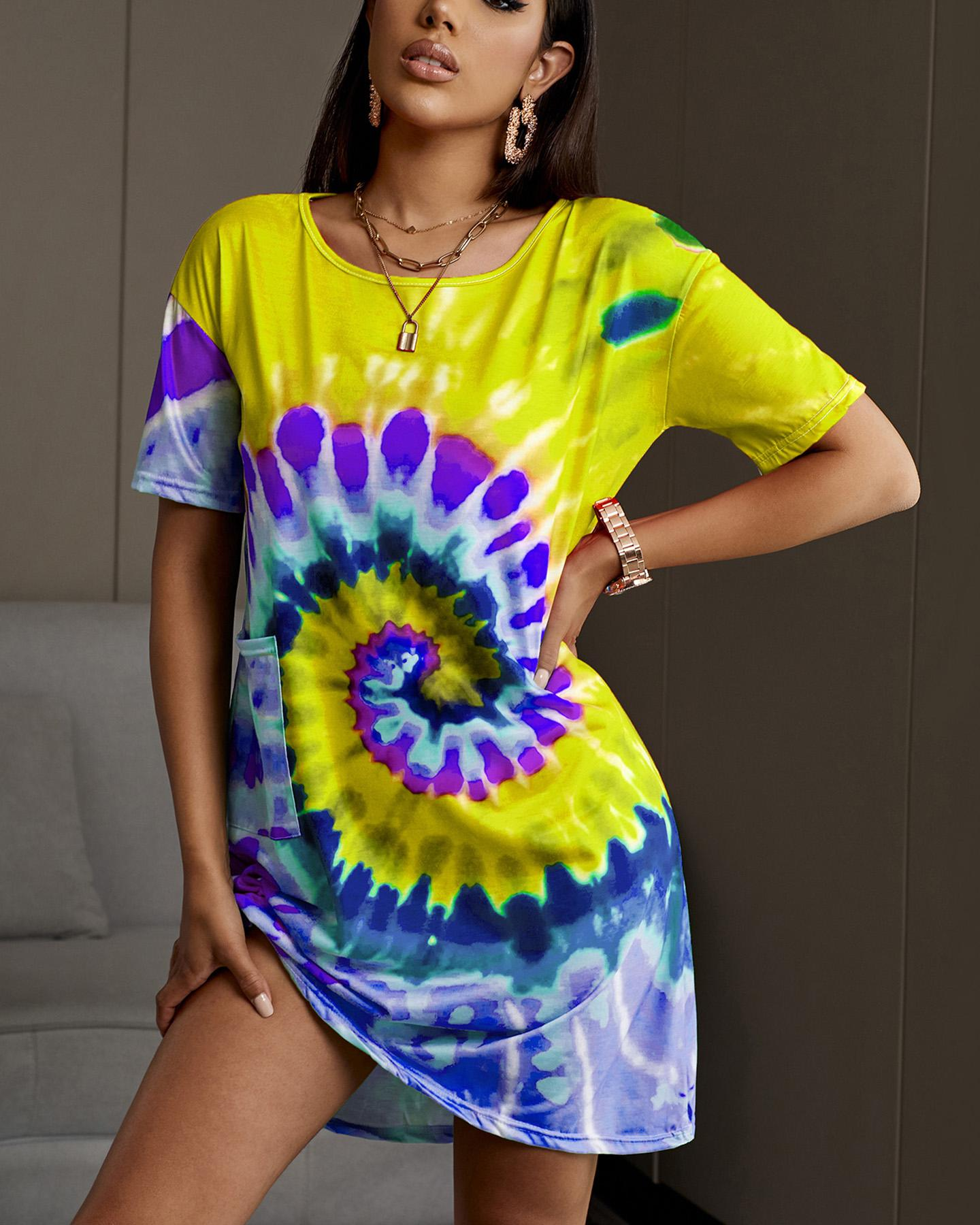 Colorful Tie Dye Print Casual Dress фото