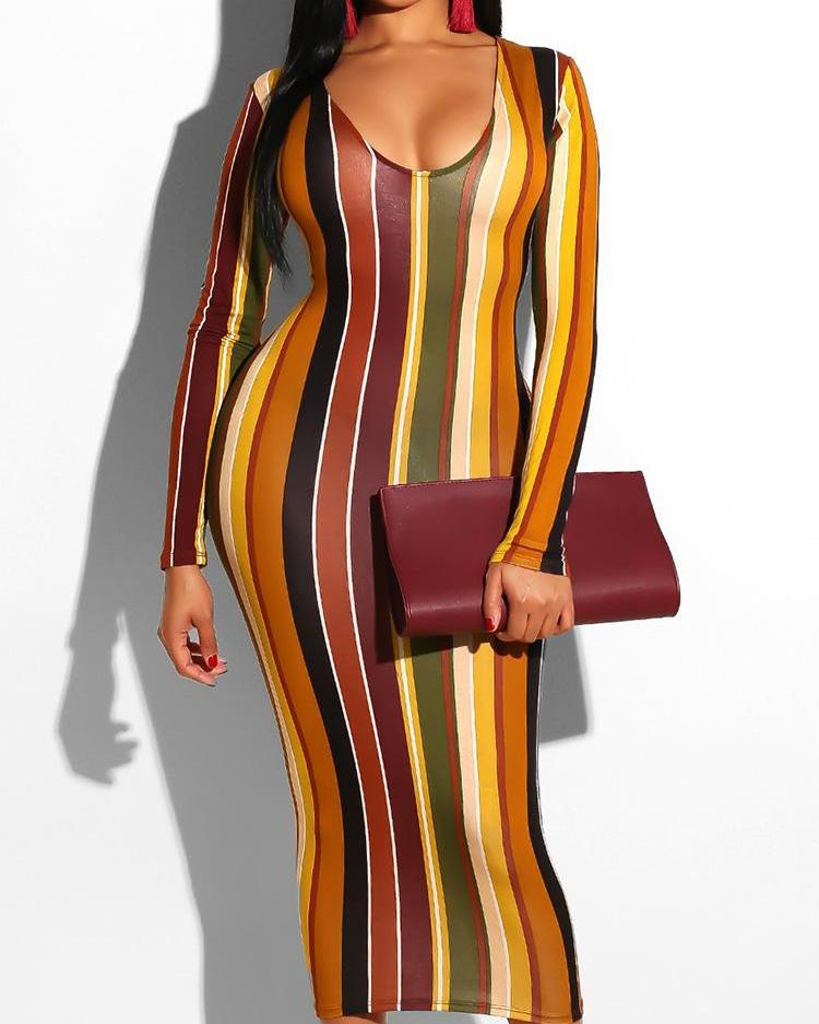 Colorful Striped Long Sleeve Dress
