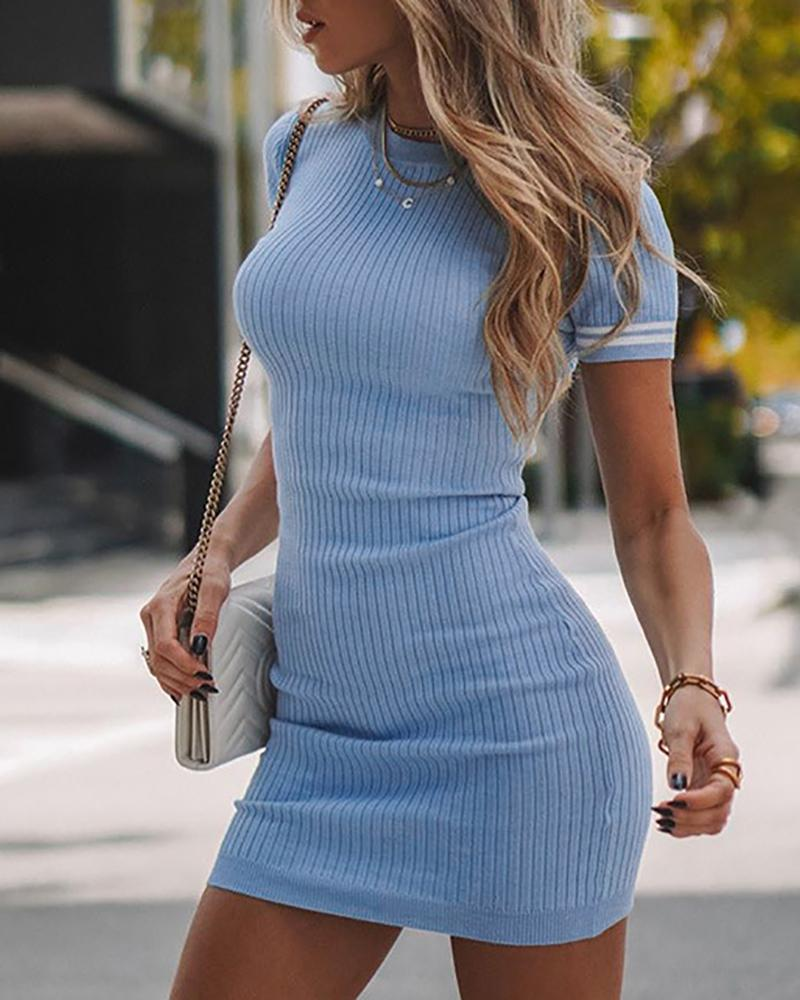 Striped Tape Knitted Short Sleeve Bodycon Dress фото