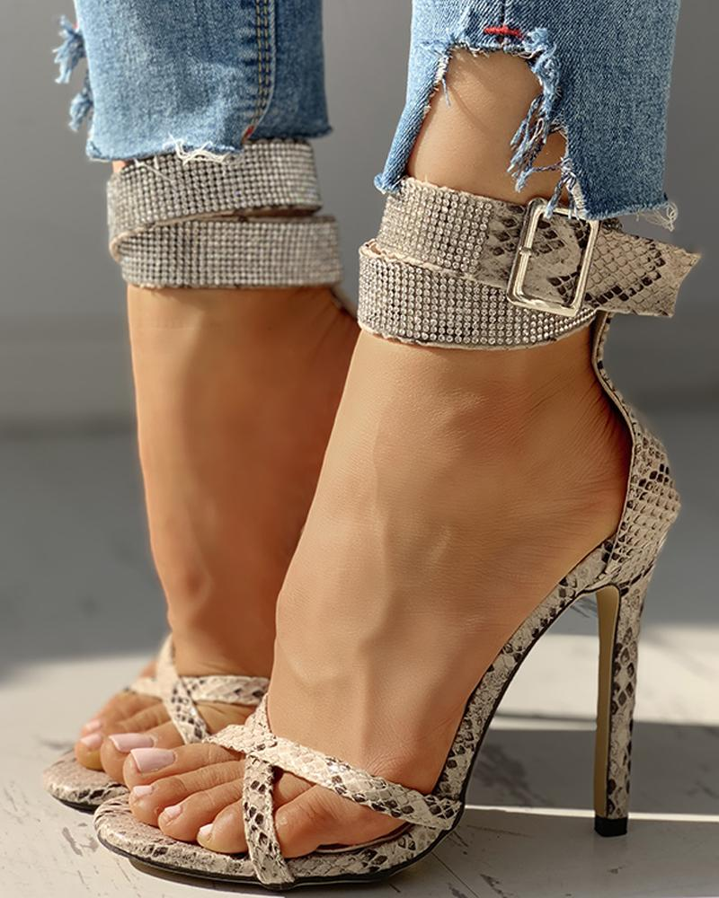 Snakeskin Print Ankle Buckled Thin Heels