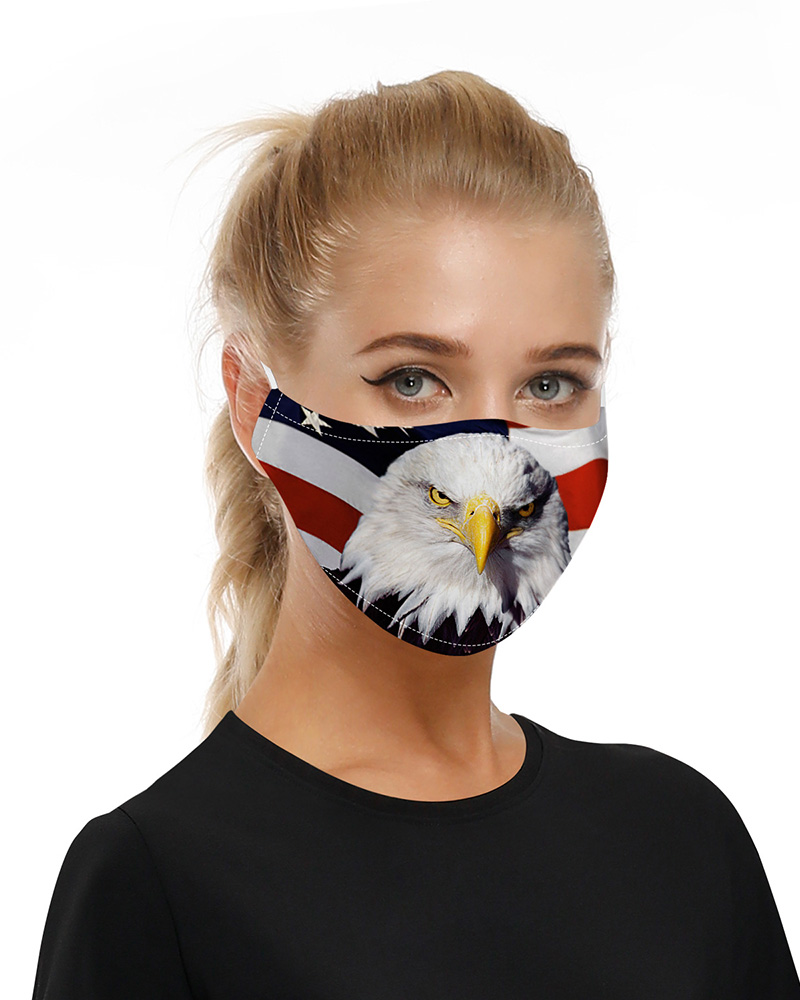 Animal Flag Print Mouth Mask Breathable Washable And Reusable With Replaceable Filter фото