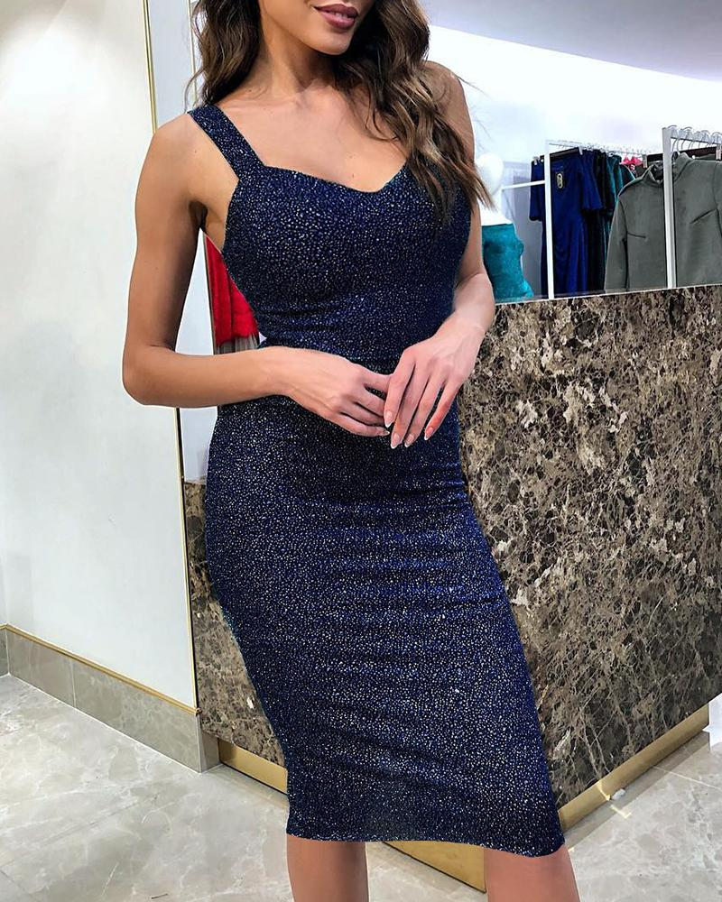 Glitter Thick Strap Bodycon Party Dress фото