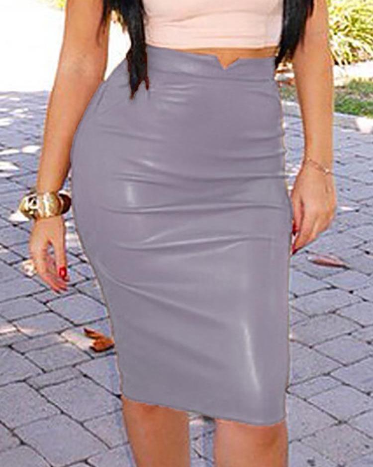 High Waist PU bodycon Skirt фото