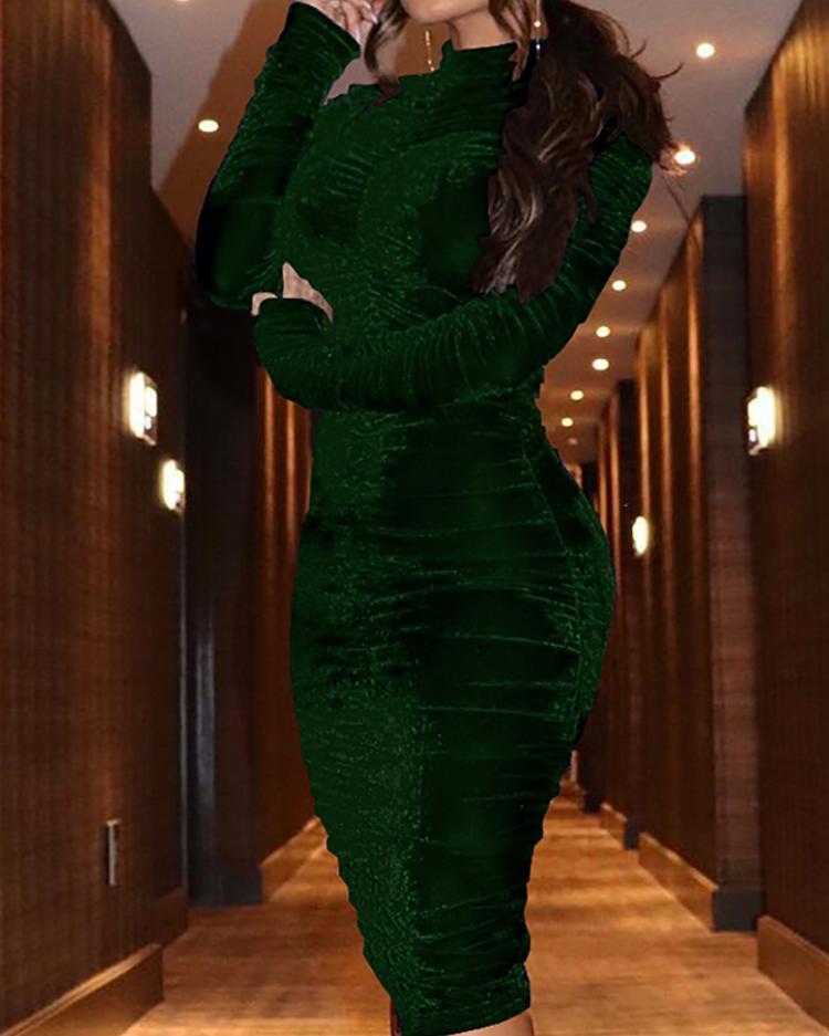 Velvet Mock Neck Ruched Bodycon Dress фото