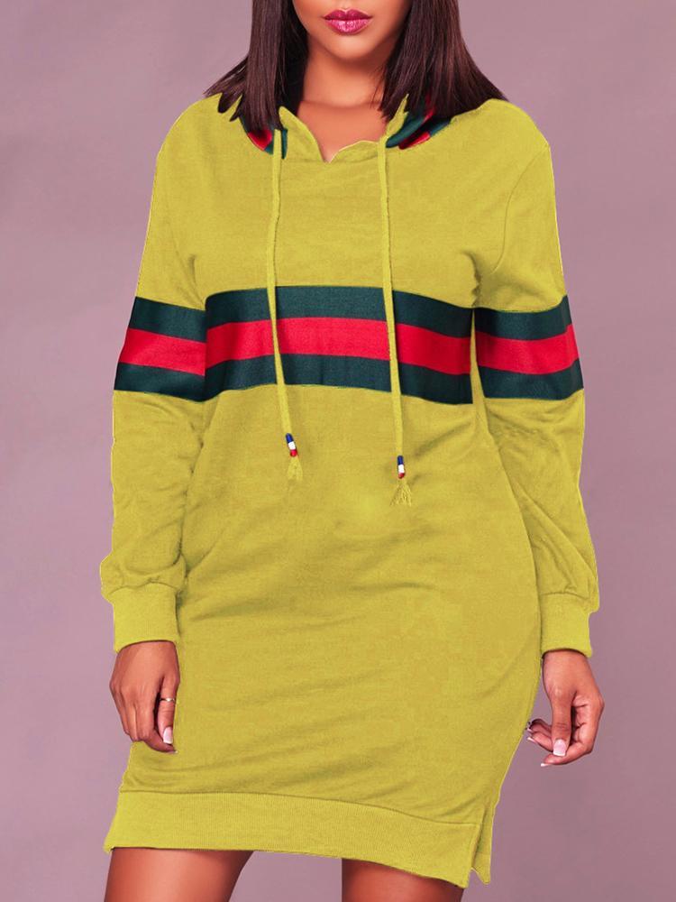 ivrose / Contraste de rayas anchas con hendidura vestido de sudadera con capucha