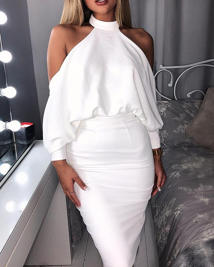 Halter Cold Shoulder Backless Bodycon Dress, White