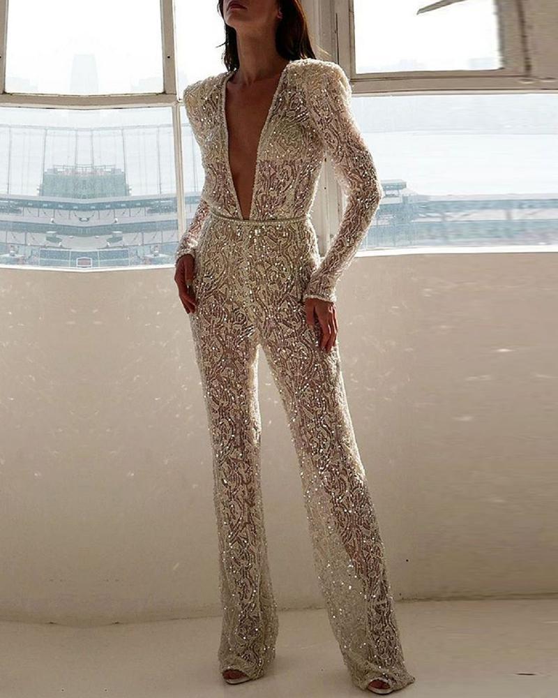 joyshoetique / Plunge Long Sleeve Sequins Jumpsuit