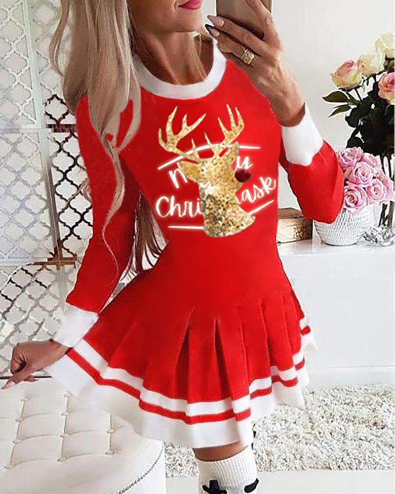 Christmas Reindeer Letter Print Long Sleeve Pleated Dress