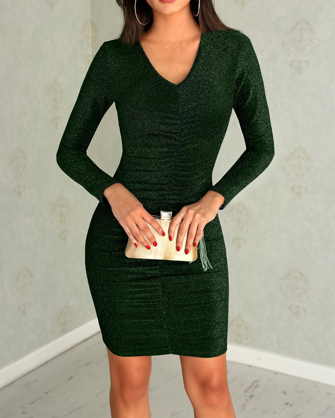 Shiny Scrunched Deep V Bodycon Dress фото