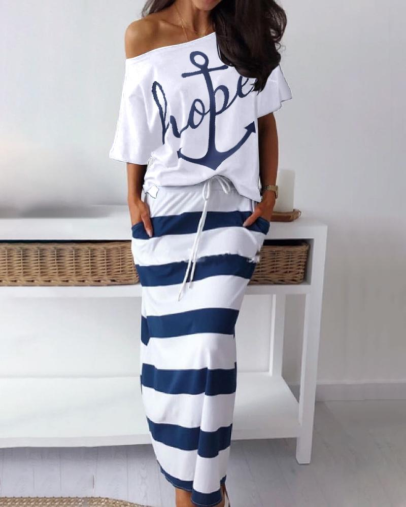 Boat Anchor Print Top & Striped Skirt Sets