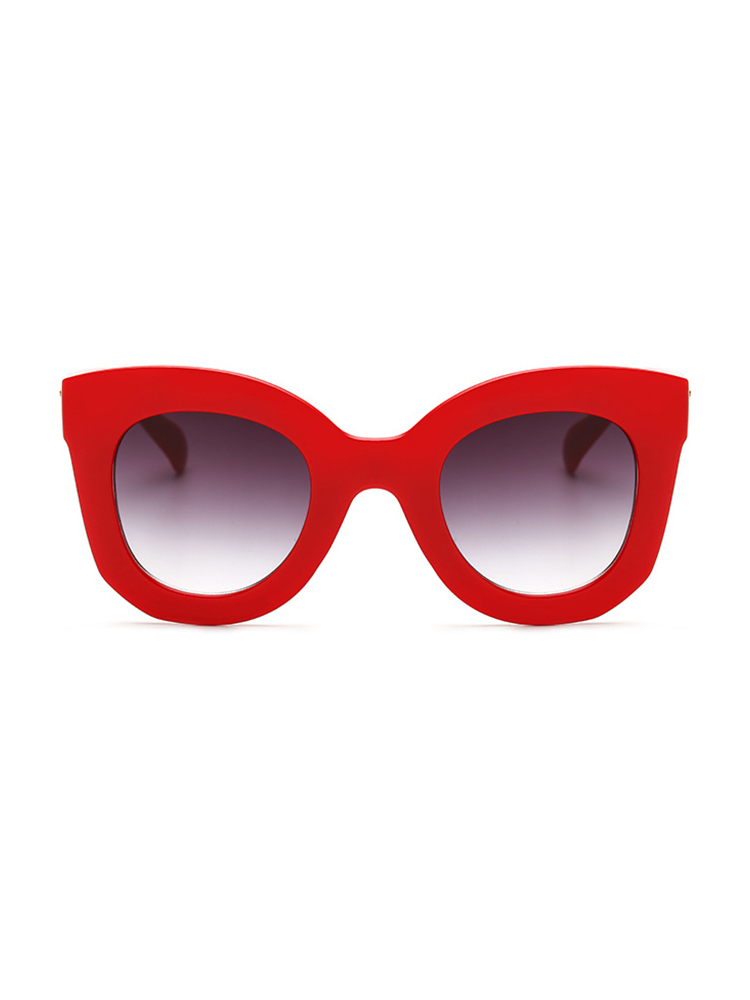 Contrast Frame Cat Eye Sunglasses - Red