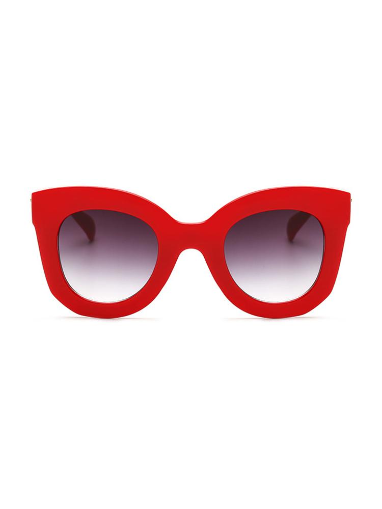 Contrast Frame Cat Eye Sunglasses - Red
