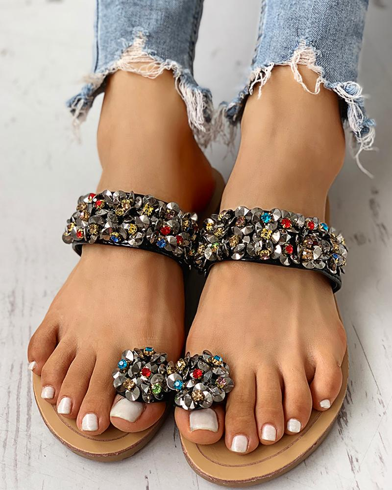 Studded Detail Toe Ring Flat Sandals фото