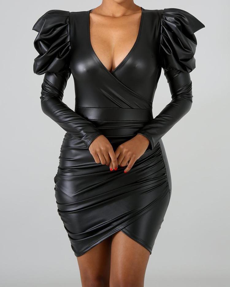 Puffed Sleeve Wrap Ruched PU Dress фото