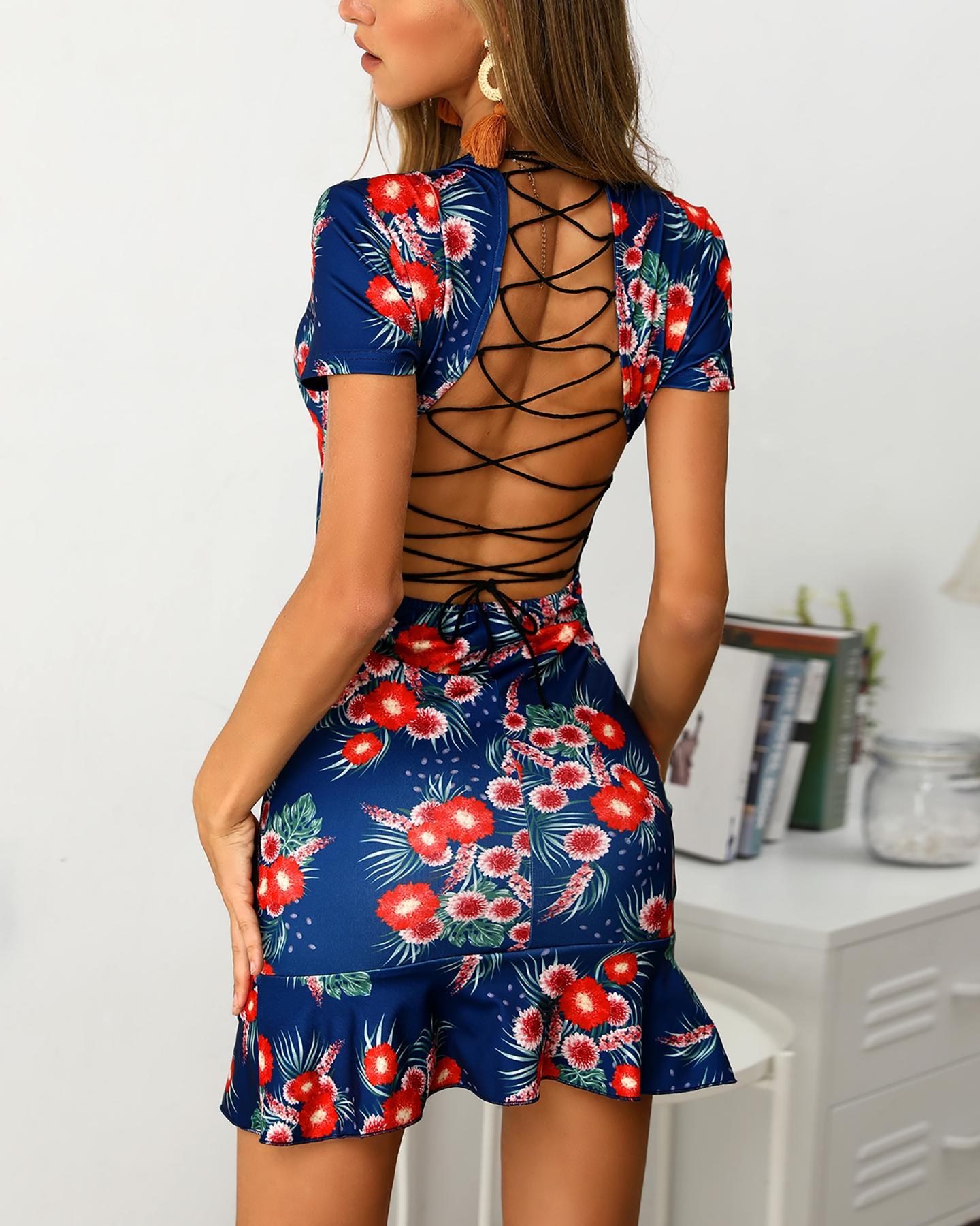 Floral Print Ruffles Lace-Up Back V-Neck Wrap Dress