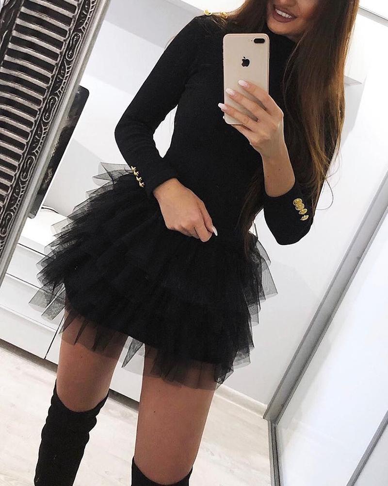 boutiquefeel / Mini vestido de organza sólido emendado