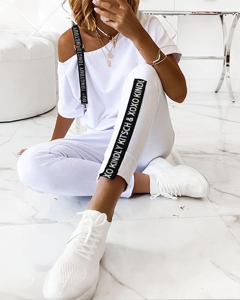 chicme / Conjuntos de pantalones con cordón y top con estampado de letras