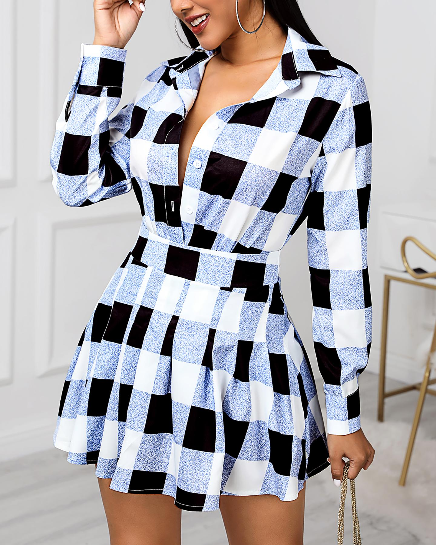 Grid Colorblock Shirt & Tight Wasit Pleated Skirt Sets фото