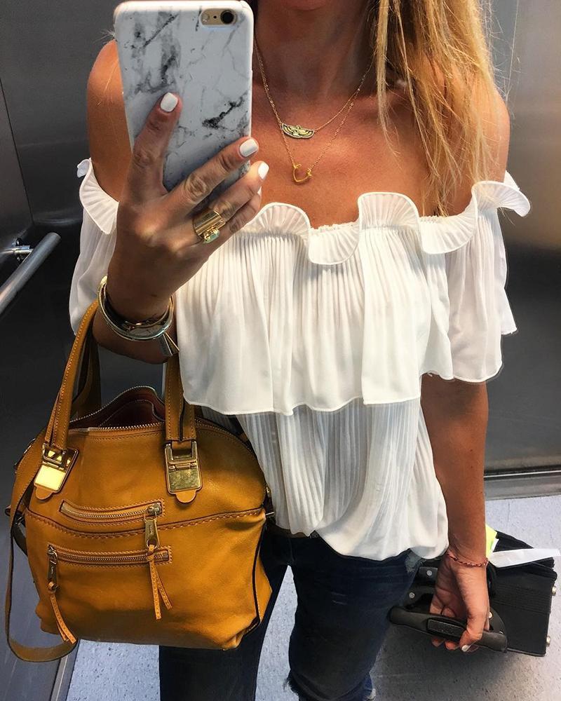 chicme / Blusa folhosa com folhos